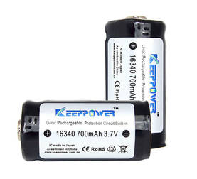 Keeppower 16340 Li-Ion 3,7 V 700 mAh - Valaisimet - 12060000004 - 1