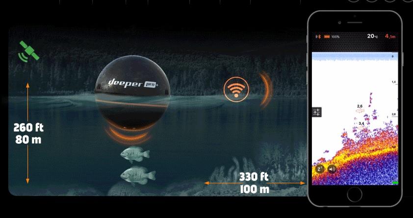 Deeper fishfinder pro wifi gps langaton kaikuluotain for Deeper fish finder pro